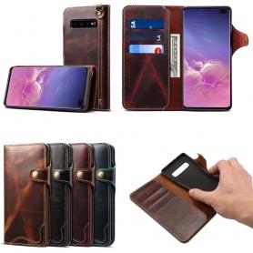 Mobilplånbok 3-kort äkta läder Samsung Galaxy S10 Plus (SM-G975F)