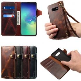Mobilplånbok 3-kort äkta läder Samsung Galaxy S10E (SM-G970F)