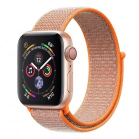 Apple Watch 4 (44mm) Nylon Armband kardborre - Spicy Orange