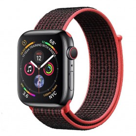 Apple Watch 4 (44mm) Nylon Armband - Svart/röd