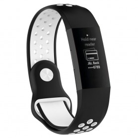 EBN Sport Armband Fitbit Charge 3 - Svart/vit