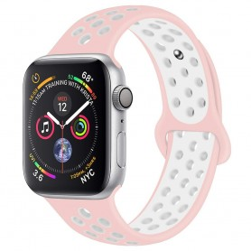 EBN Sport Armband Apple Watch 4 (44) - Rosa/vit