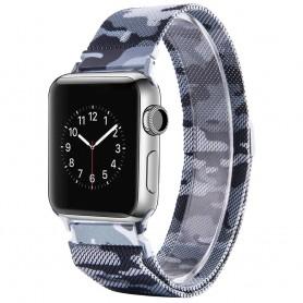 Apple Watch 38mm Serie 1,2,3 Armband Milanese Camo - Grå