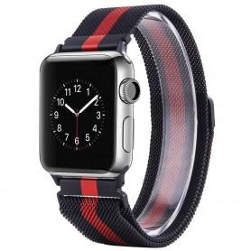 Apple Watch 38 Armband Milanese - Svart/Röd