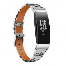 Flower Läder Armband FITBIT Inspire / Inspire HR - Vit