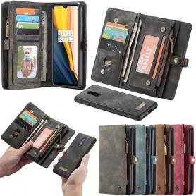 Multiplånbok CaseMe 11 kort OnePlus 7 mobilskal läder fodral väska