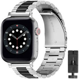 Armband rostfritt stål Apple Watch 6 (44mm) - Silver/svart